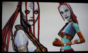 Hehän ovat kuin kaksi marjaa: Ian McCaigin luonnos-sith naispuoliseksi Darth Mauliksi ja hahmo Clone Wars -sarjasta. (kuva: Aki Jörgensen)