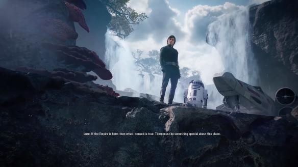 Kuva pelin animaatiosta: Luke Skywalker ja Artoo.
