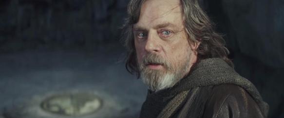 Luke Skywalker Ahch-Ton kallioluolassa.