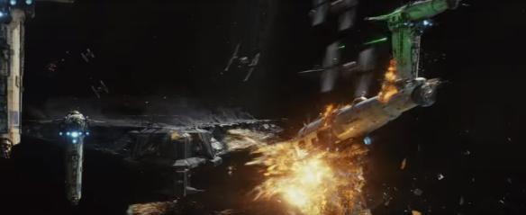 Vastarinnan pommittajien epätoivoinen hyökkäys elokuvan alussa.