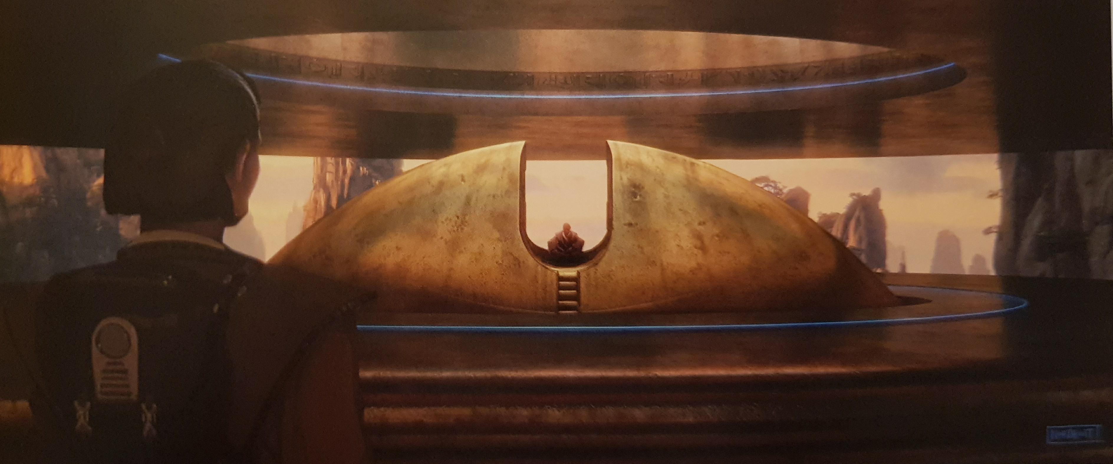 Rey erilaisessa jeditemppelissä, luonnoskuva.